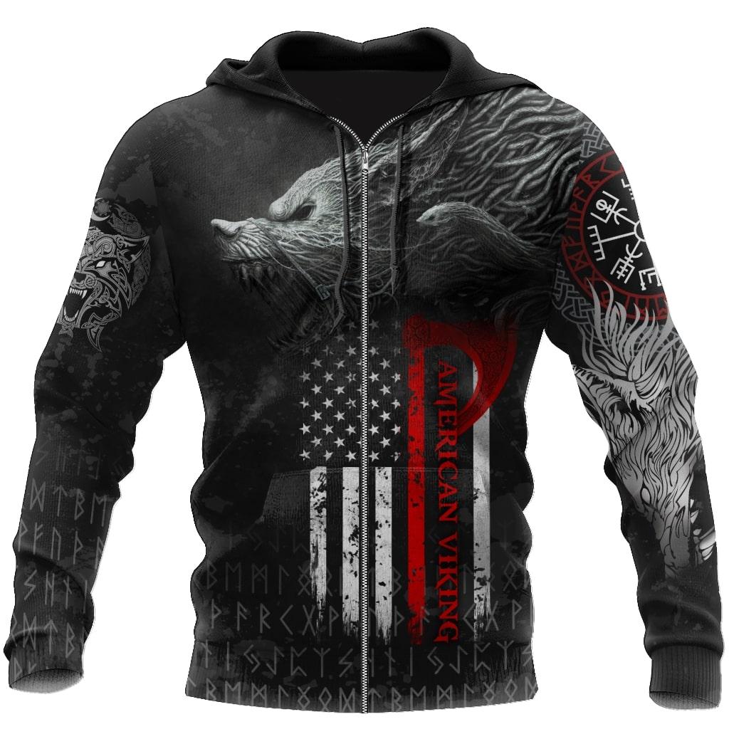 american flag viking fenrir all over printed zip hoodie