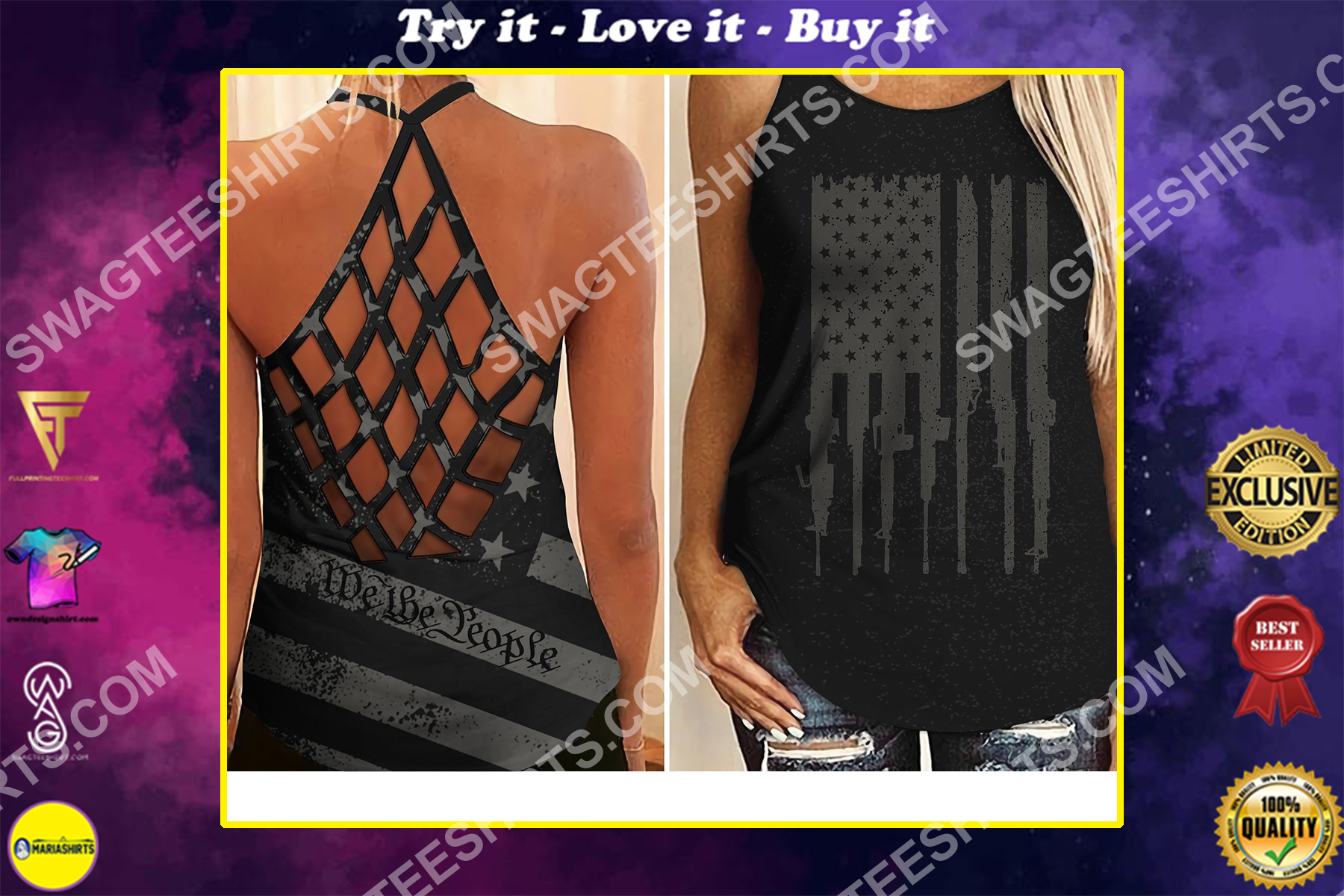 american flag we the people all over printed strappy back tank top