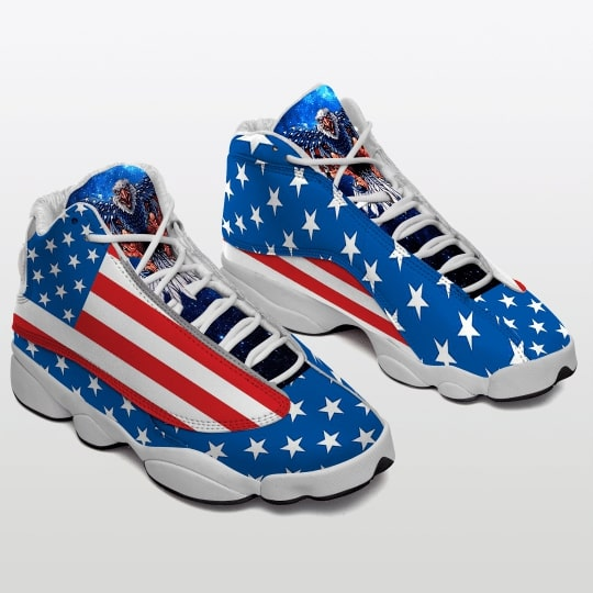american flag with eagle all over printed air jordan 13 sneakers 2