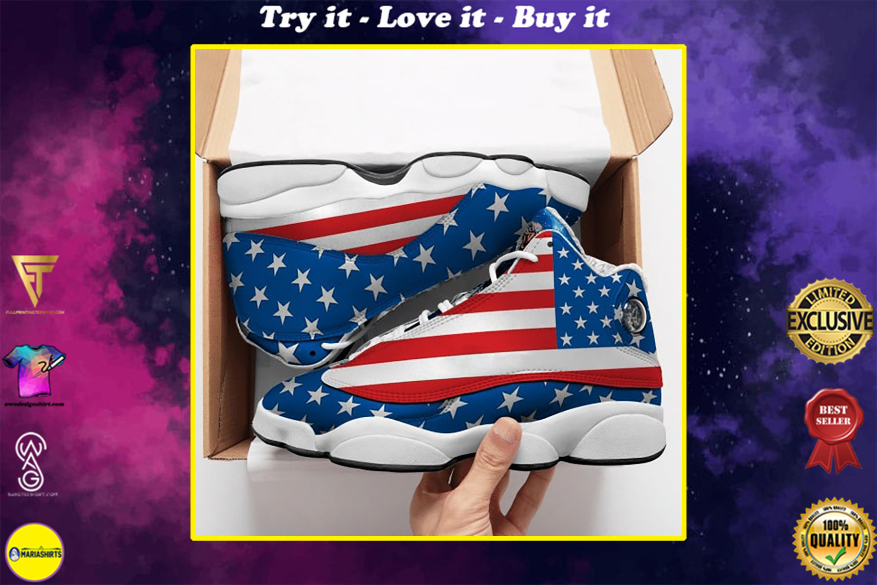 american flag with eagle all over printed air jordan 13 sneakers