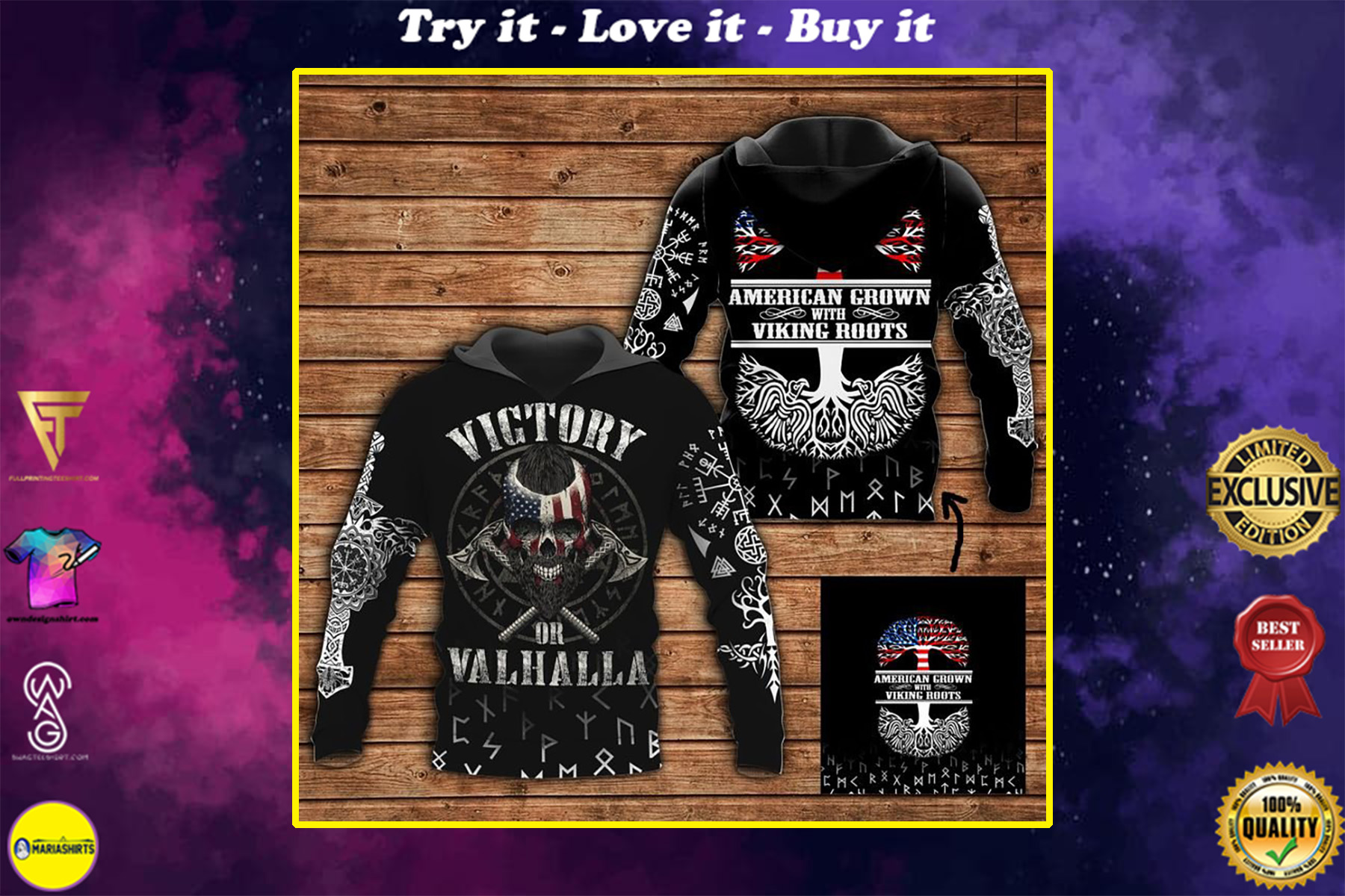 american grown viking roots all over printed shirt