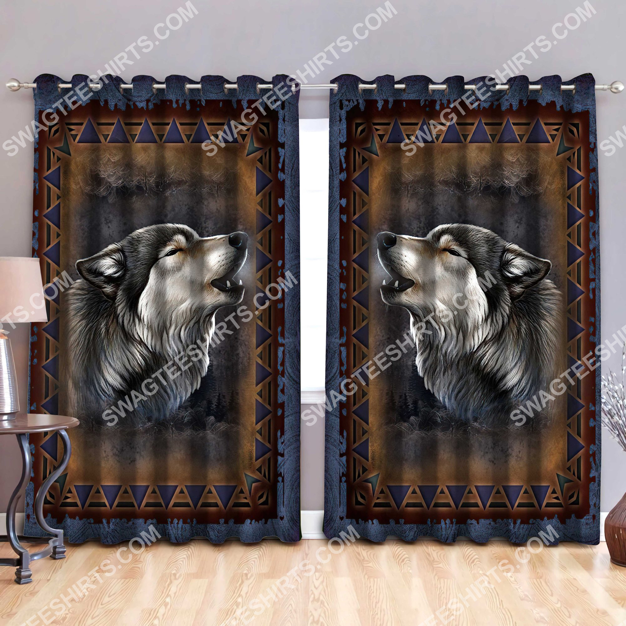 american native wolf all over printed window curtains 3