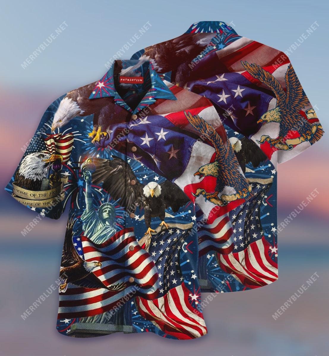 american patriotic eagle all over print hawaiian shirt 2