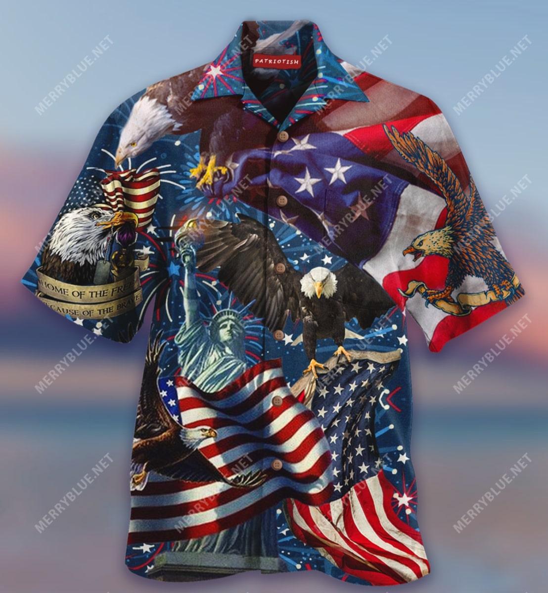 american patriotic eagle all over print hawaiian shirt 5