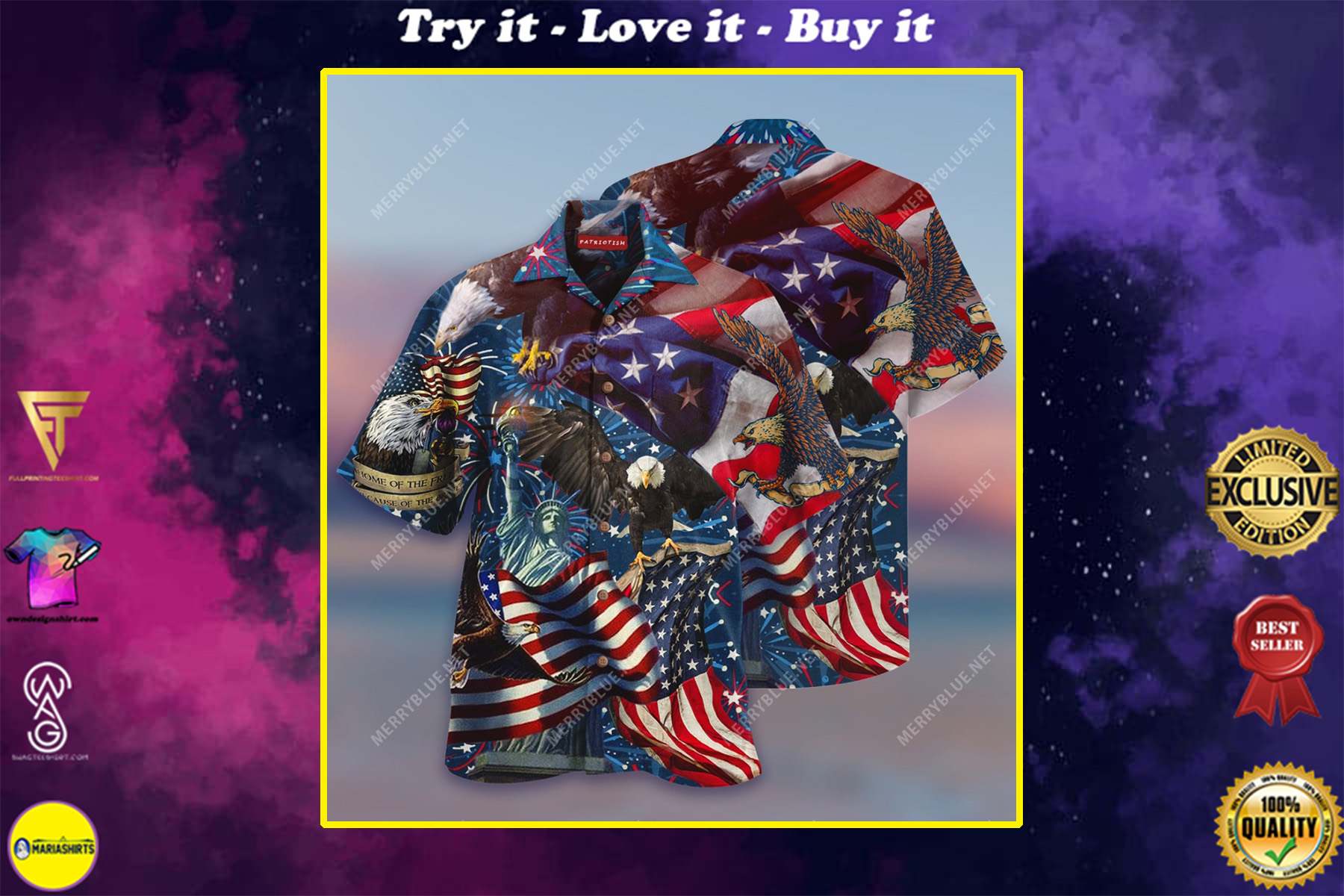 american patriotic eagle all over print hawaiian shirt