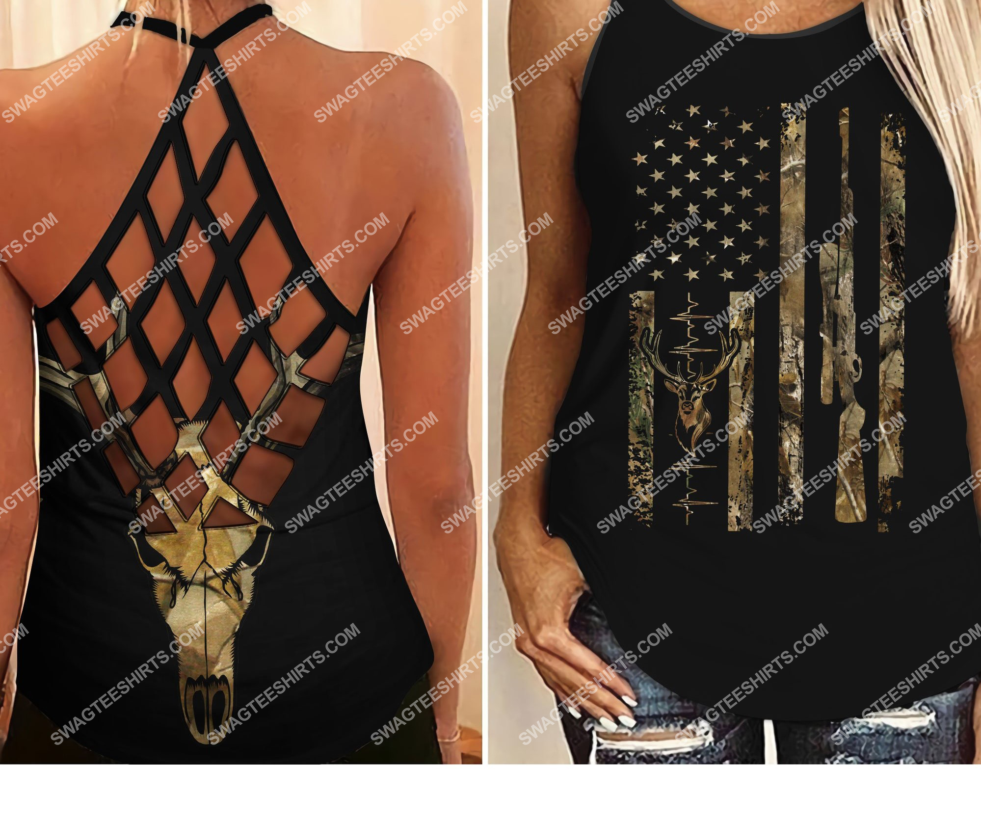 amrican flag hunting girl all over printed strappy back tank top 2 - Copy (2)