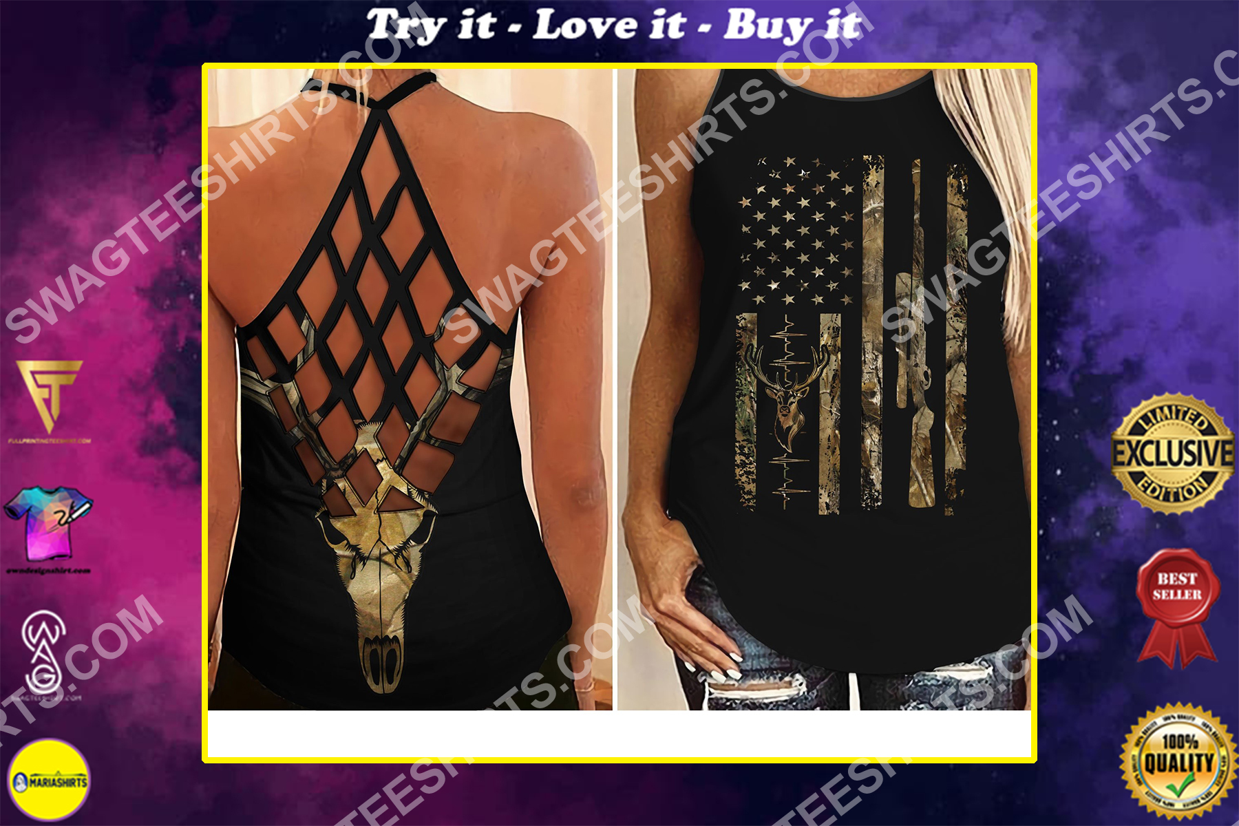 amrican flag hunting girl all over printed strappy back tank top
