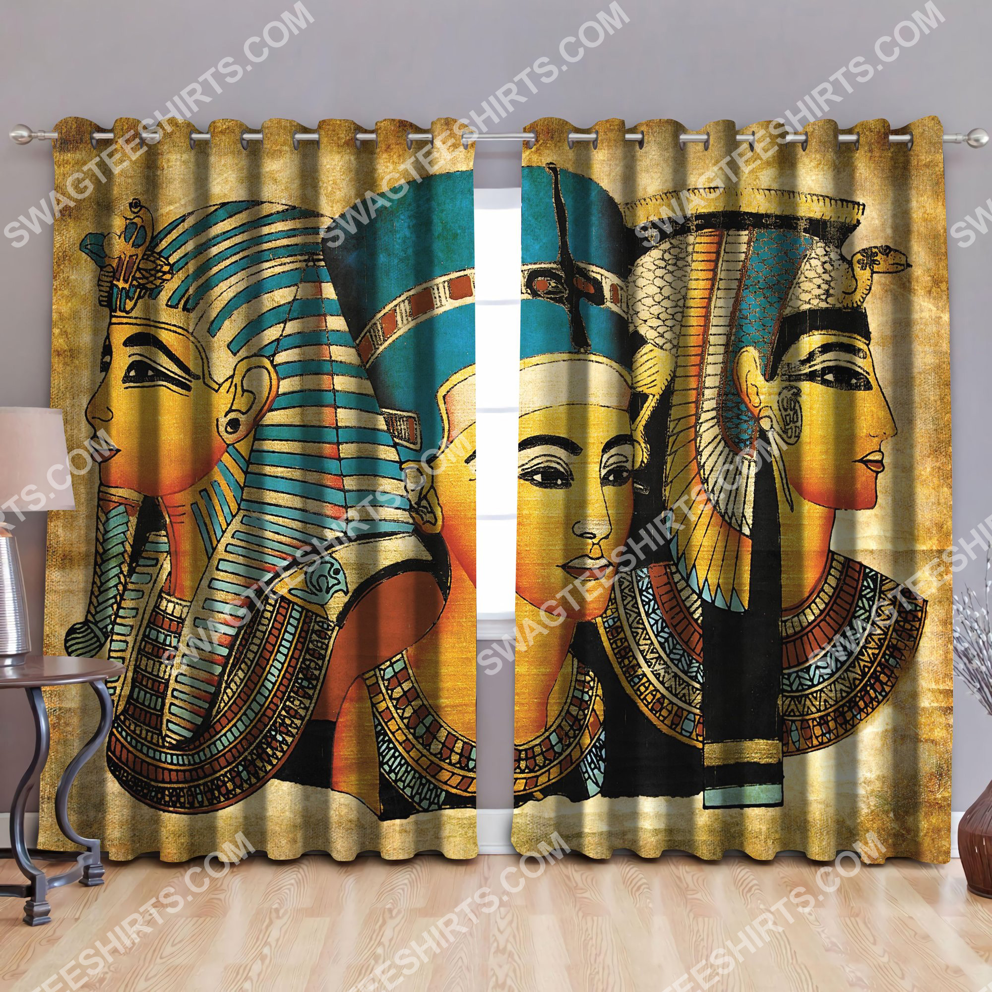 ancient egypt pharaoh all over printed window curtains 3