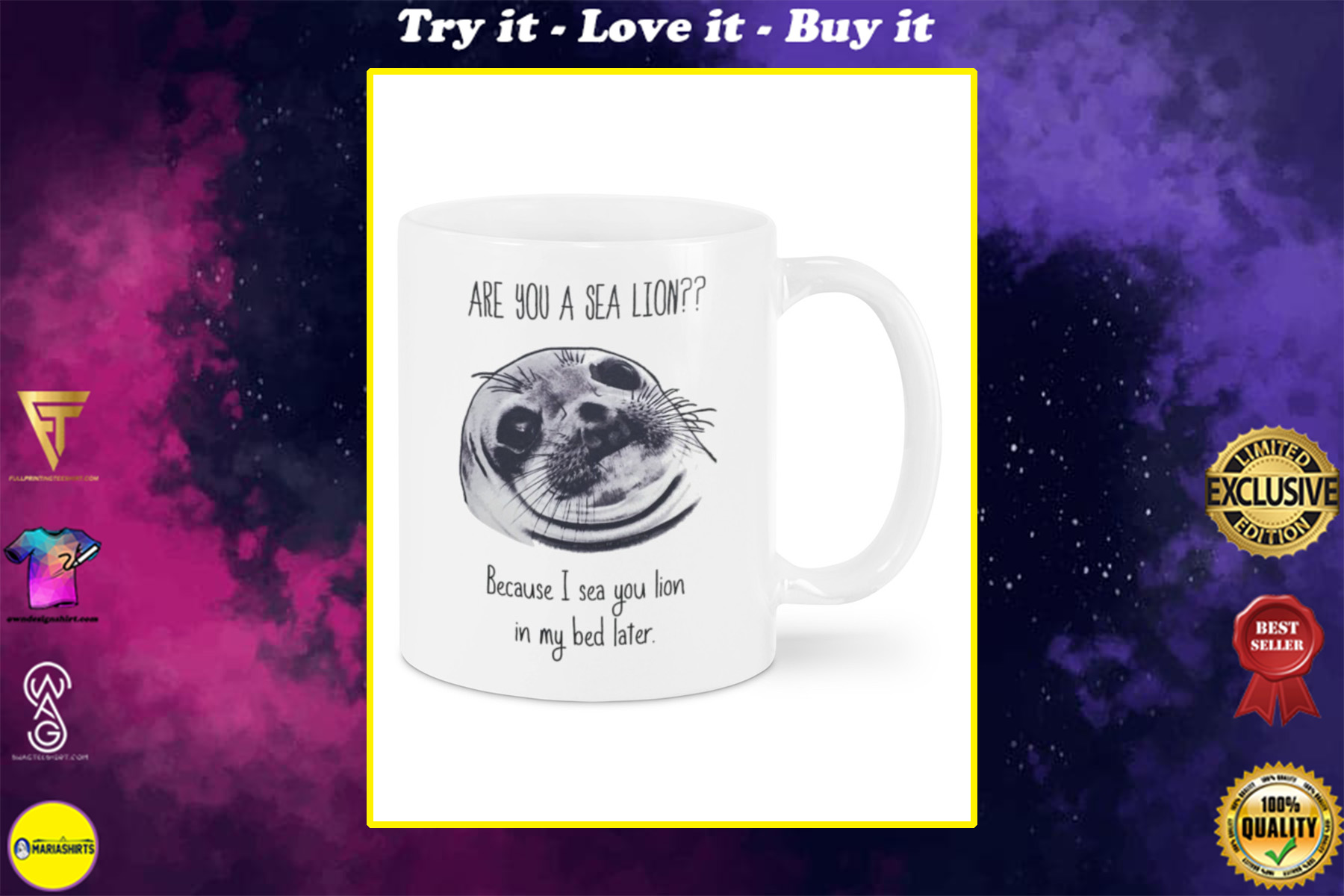 are you a sea lion because i see you lion in my bed later happy valentines day mug