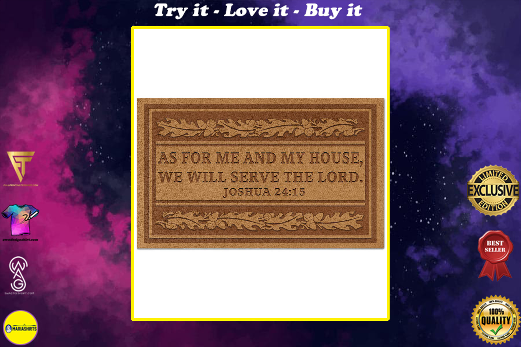as for me and my house we will serve the lord full printing doormat