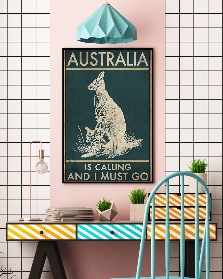 australia is calling and i must go kangaroo vintage poster 3
