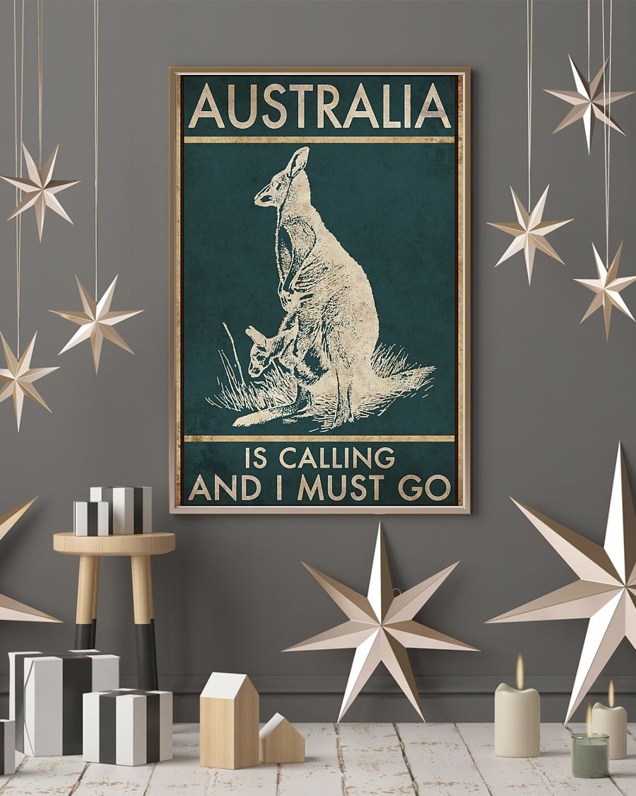 australia is calling and i must go kangaroo vintage poster 4