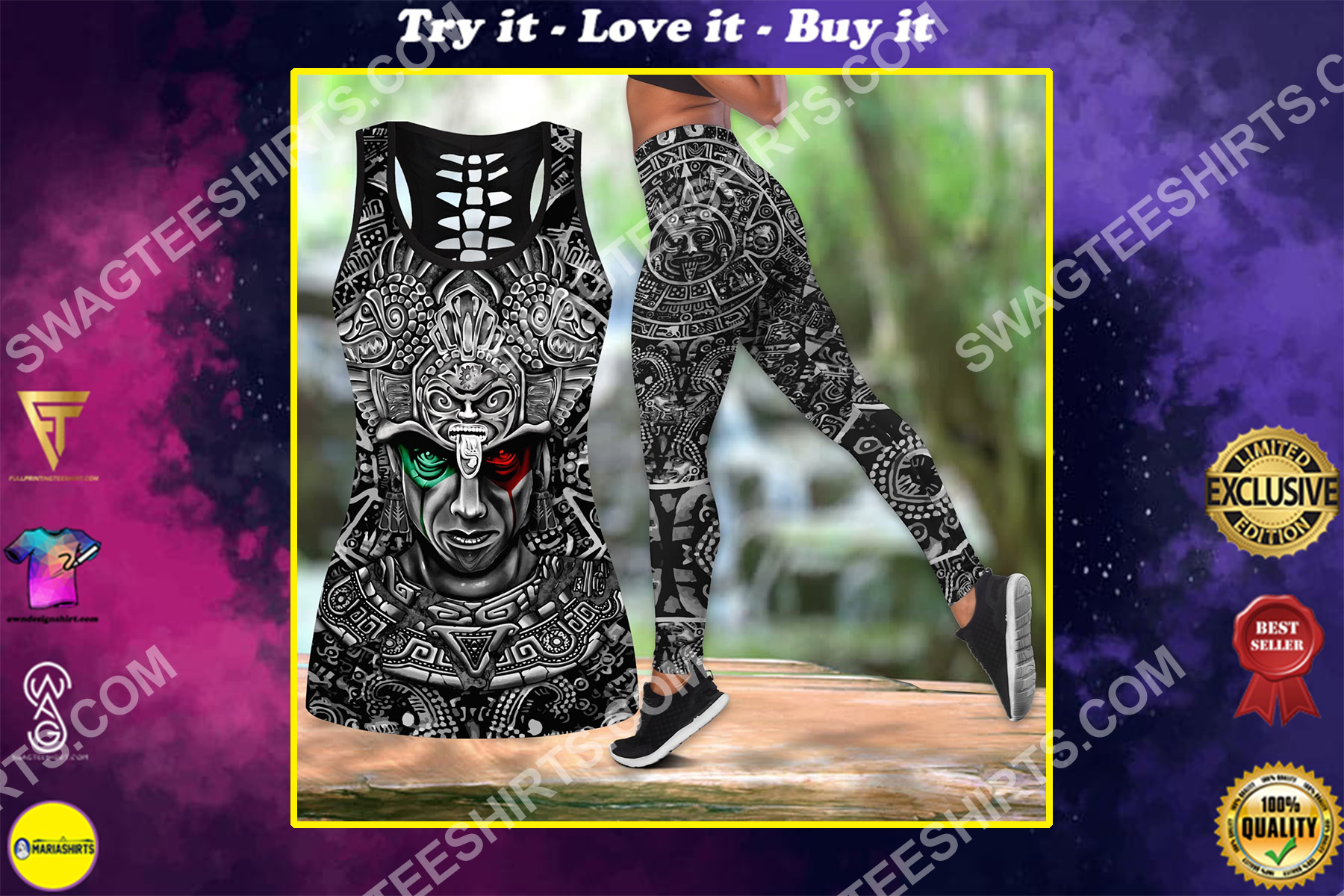 aztec mexico warrior all over printed set sports outfit