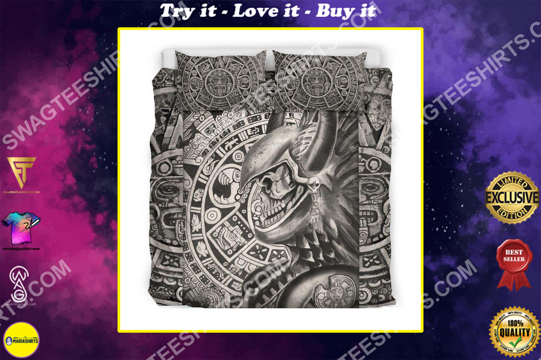 aztec warrior mexican all over printed bedding set