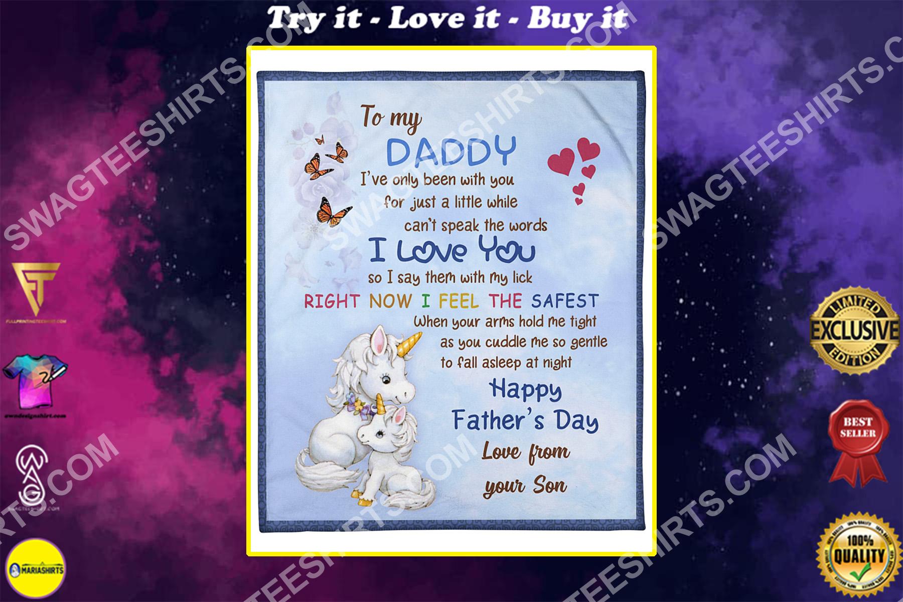 baby unicorn to my daddy i love you happy fathers day blanket