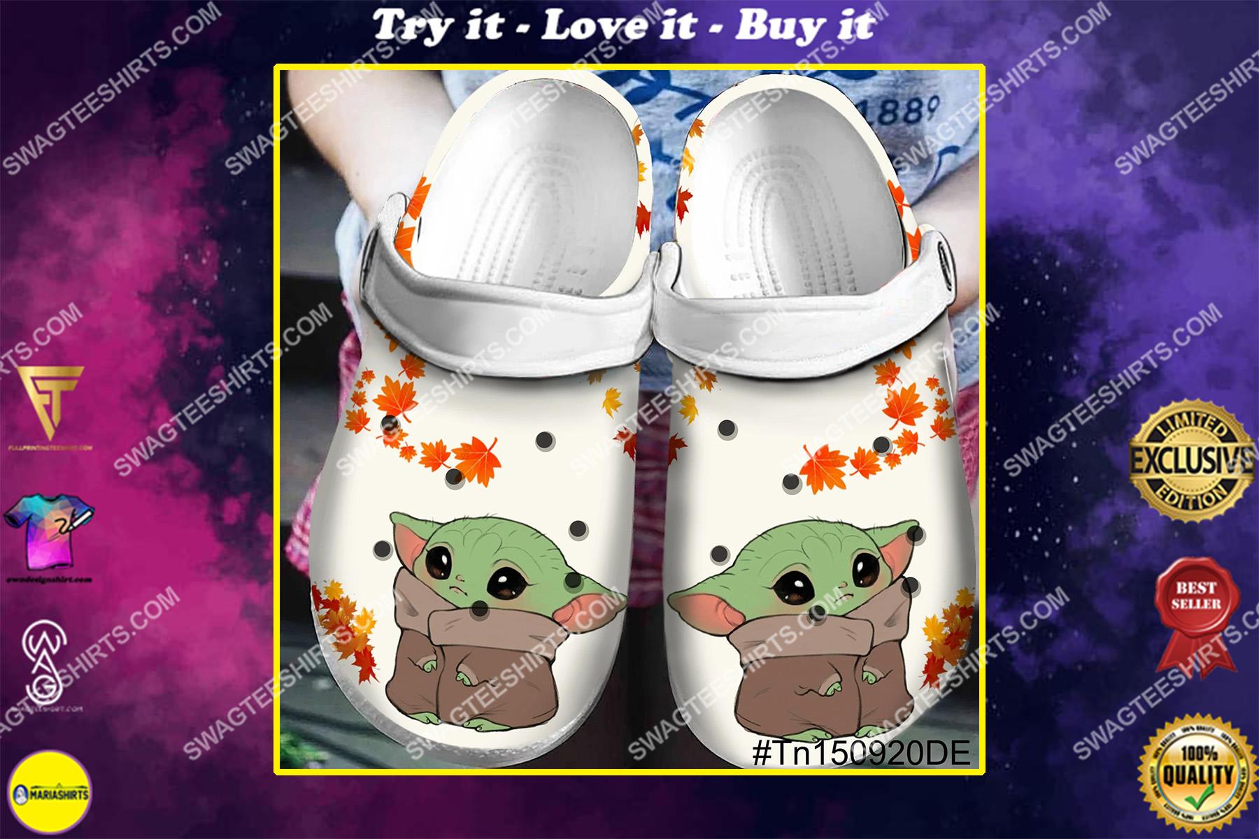 baby yoda all over printed crocs crocband clog