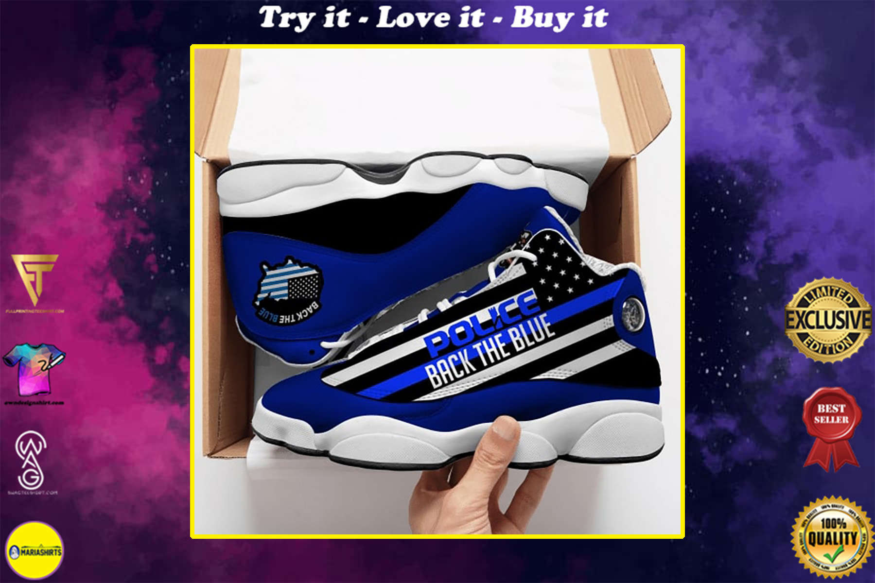 back the blue thin blue line american flag police support air jordan 13 sneakers