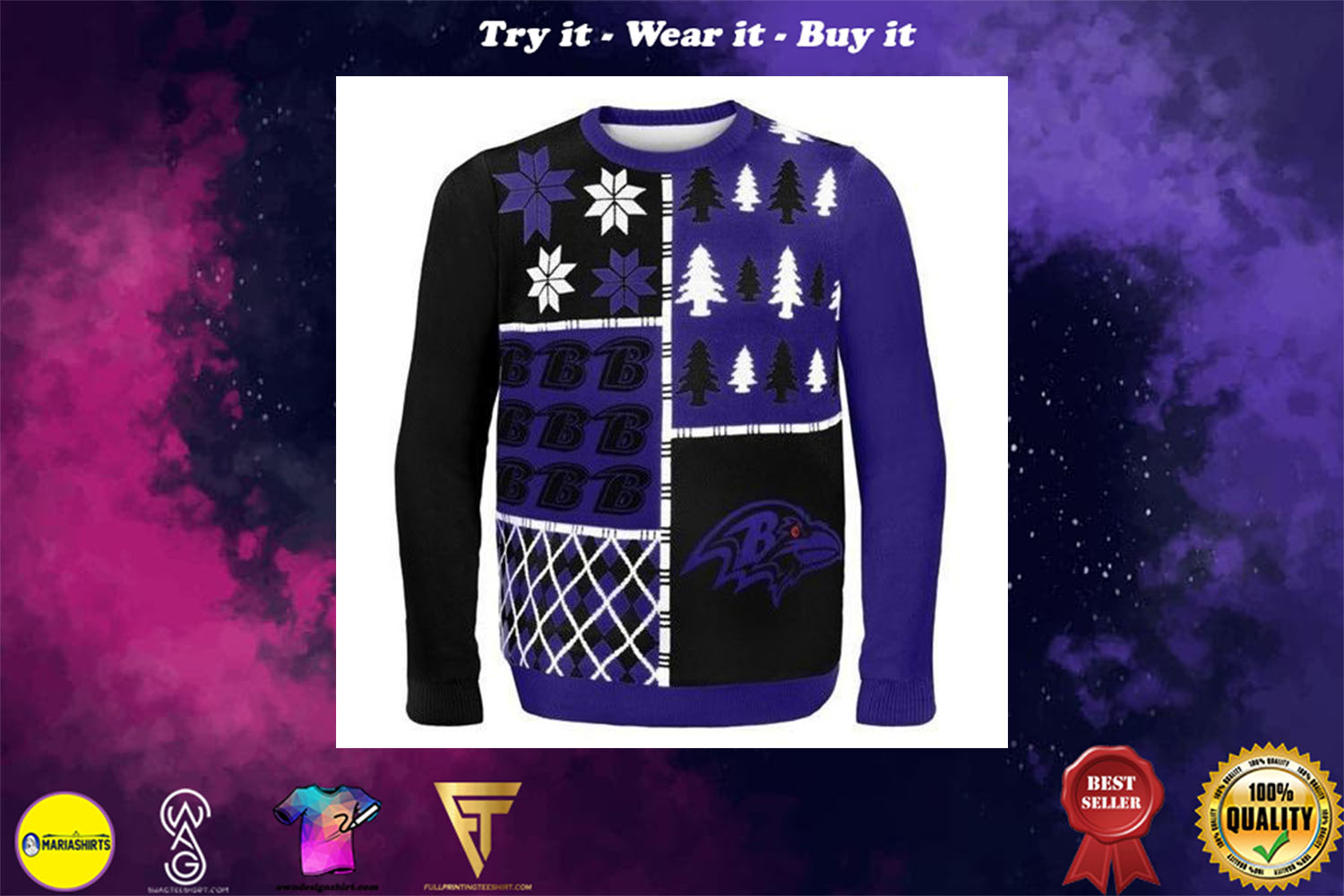 baltimore ravens busy block ugly christmas sweater