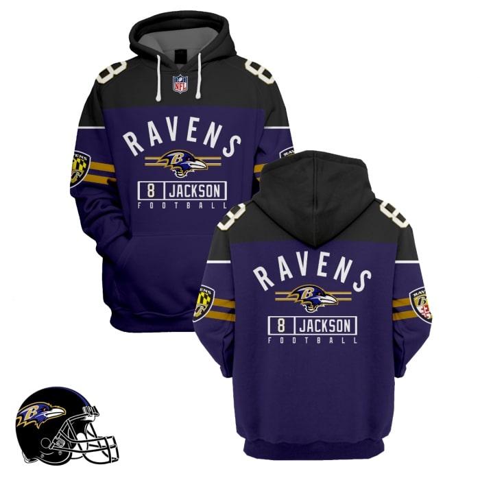 baltimore ravens lamar jackson 8 full over printed hoodie