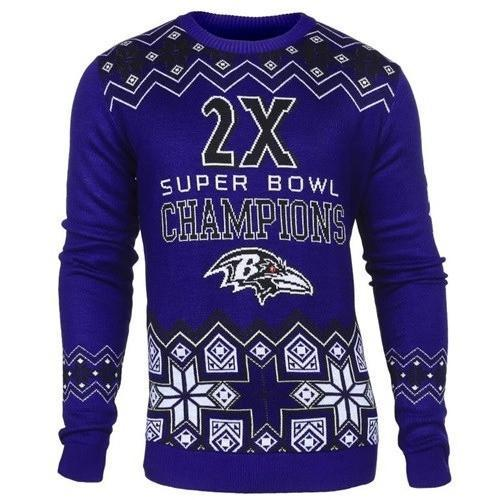 baltimore ravens super bowl champions ugly christmas sweater 1