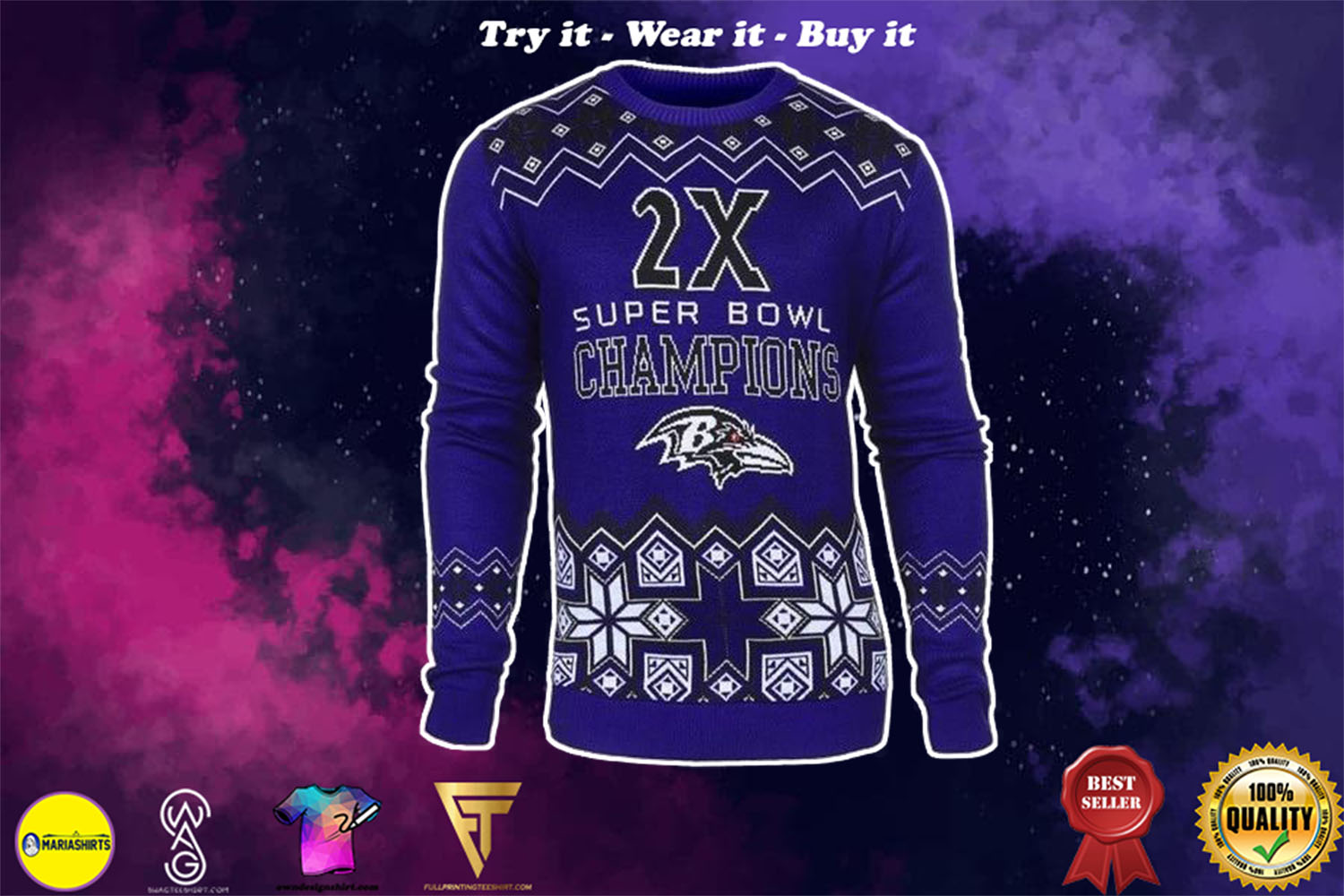 baltimore ravens super bowl champions ugly christmas sweater