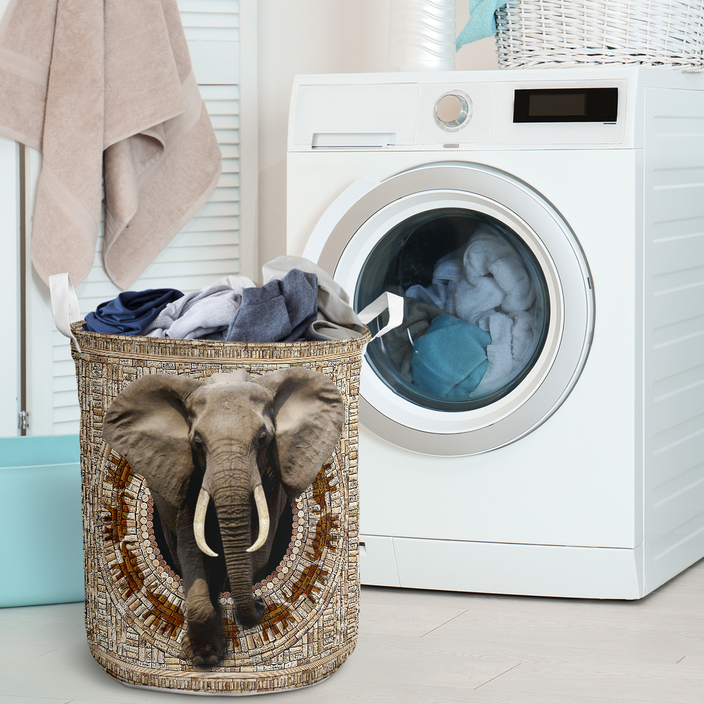 bamboo elephant all over printed laundry basket 2