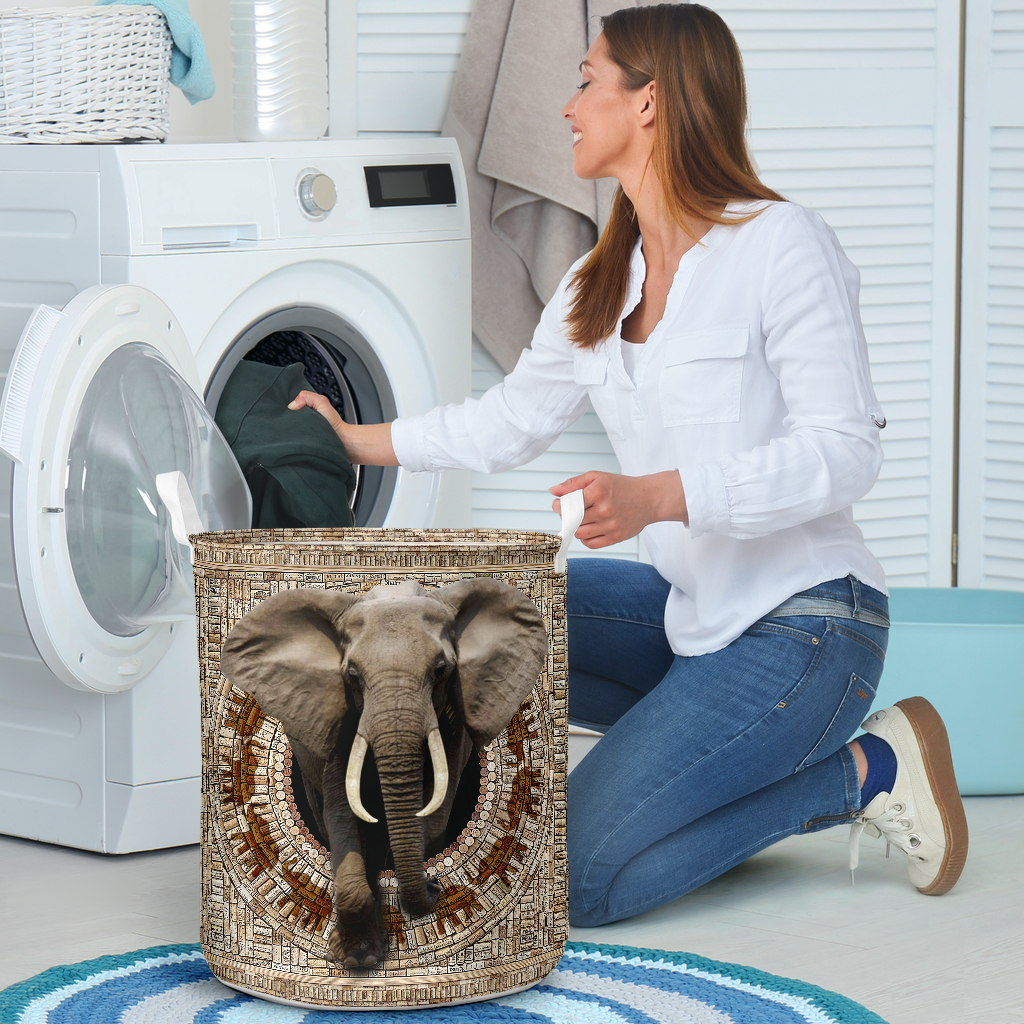 bamboo elephant all over printed laundry basket 4