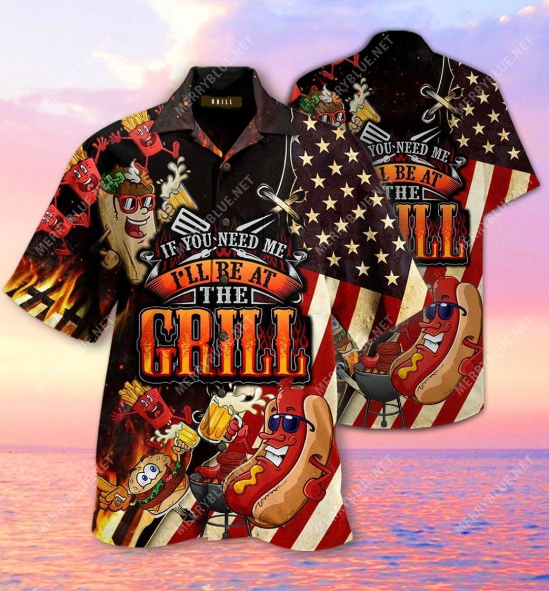 barbecue if you need me i will be at the grill all over printed hawaiian shirt 2