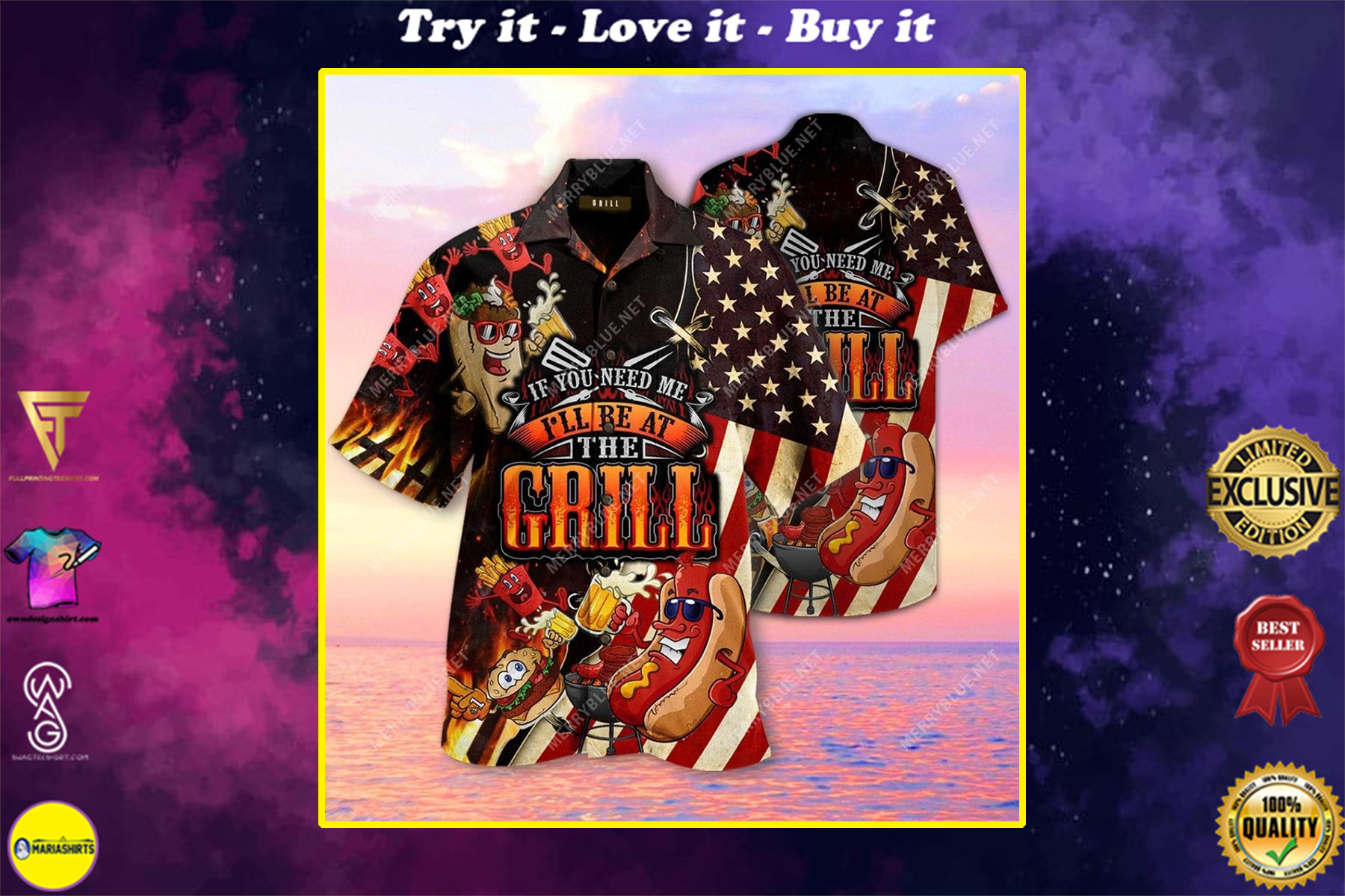 barbecue if you need me i will be at the grill all over printed hawaiian shirt
