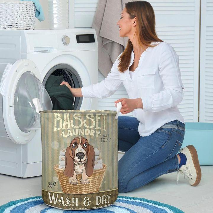 basset dog all over printed laundry basket 4