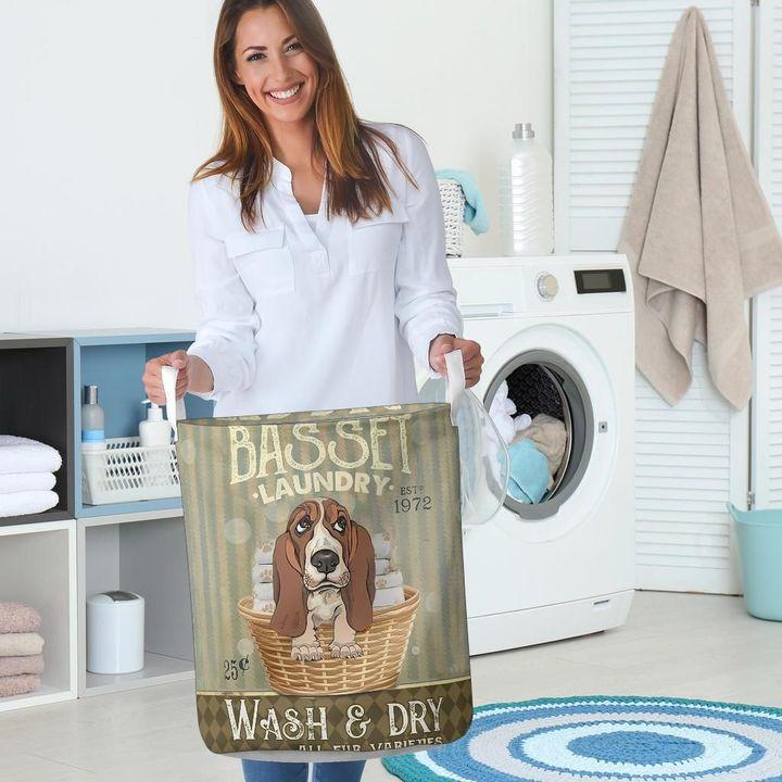 basset dog all over printed laundry basket 5