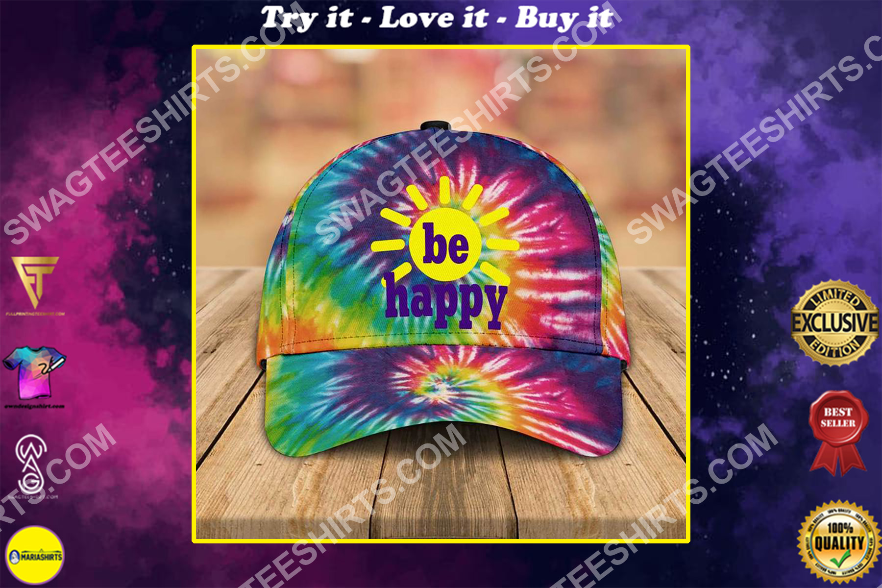 be happy tie-dye colorful all over printed classic cap