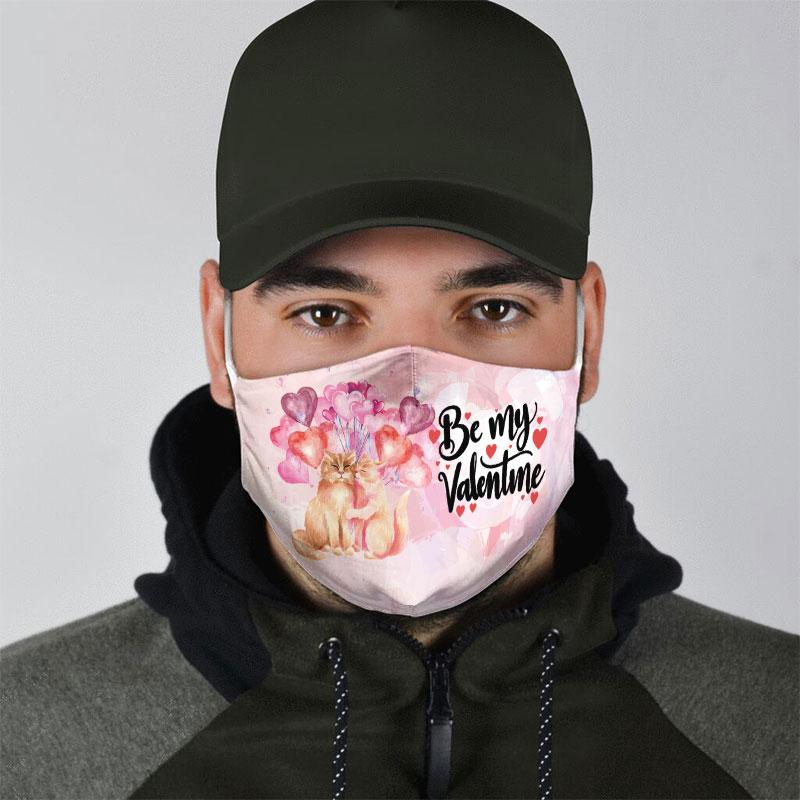 be my valentine couple cat all over print face mask 5