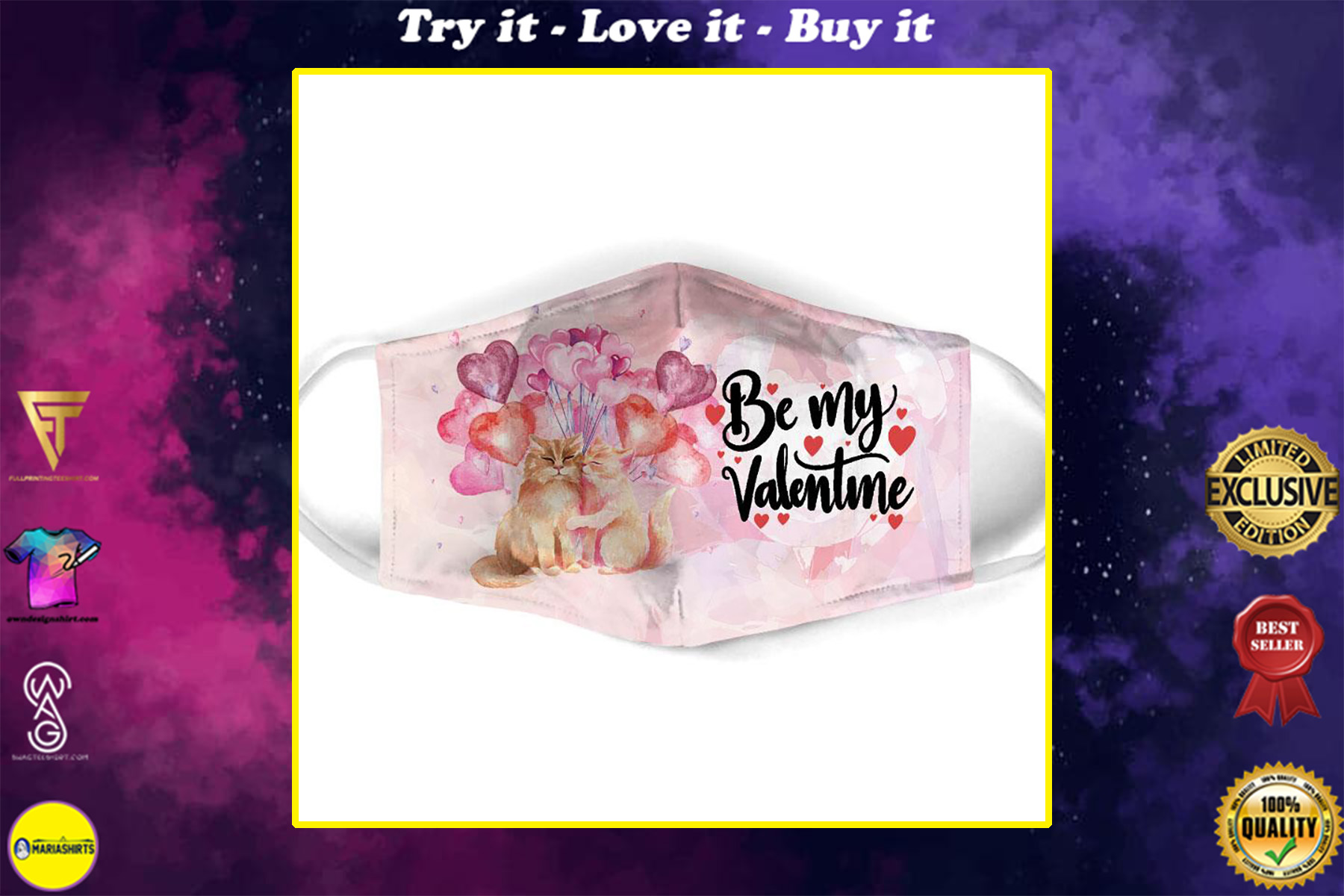be my valentine couple cat all over print face mask