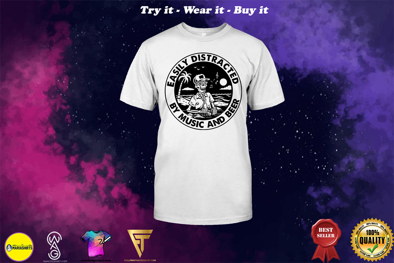 beach life skull easily distracted music and beer shirt