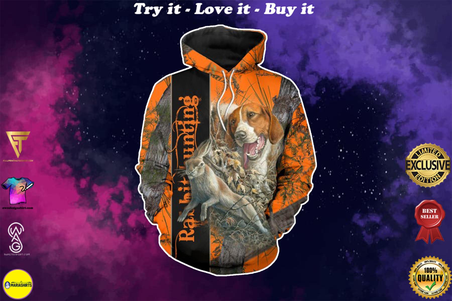 beagle hunting rabbit camo style full over printed shirt