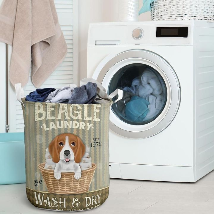 beagle wash and dry all over print laundry basket 2