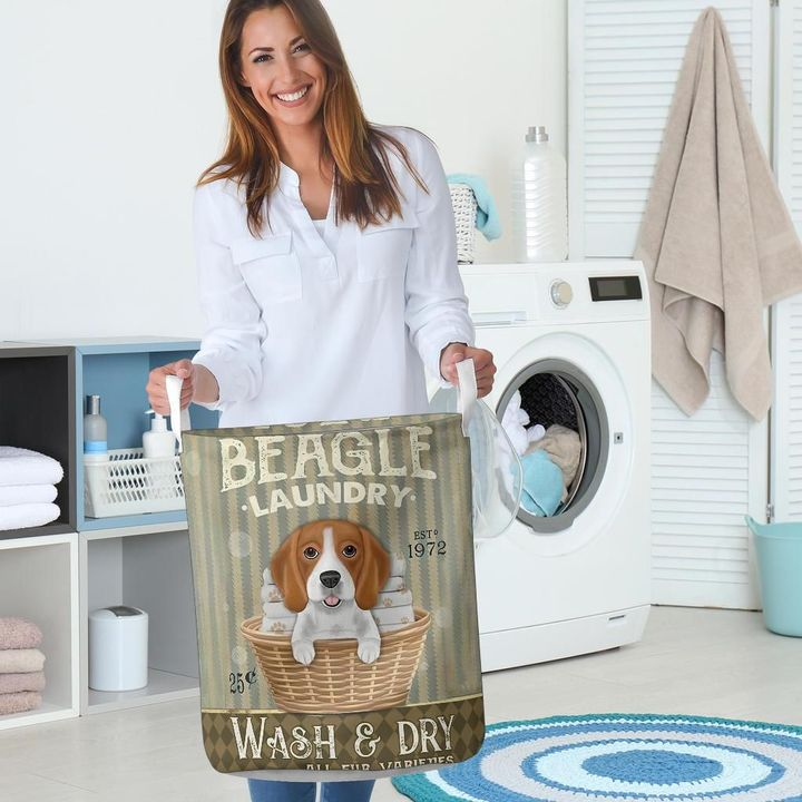 beagle wash and dry all over print laundry basket 5