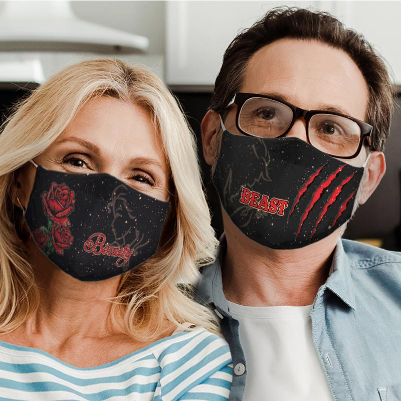 beauty and the beast for couple love all over print face mask 4