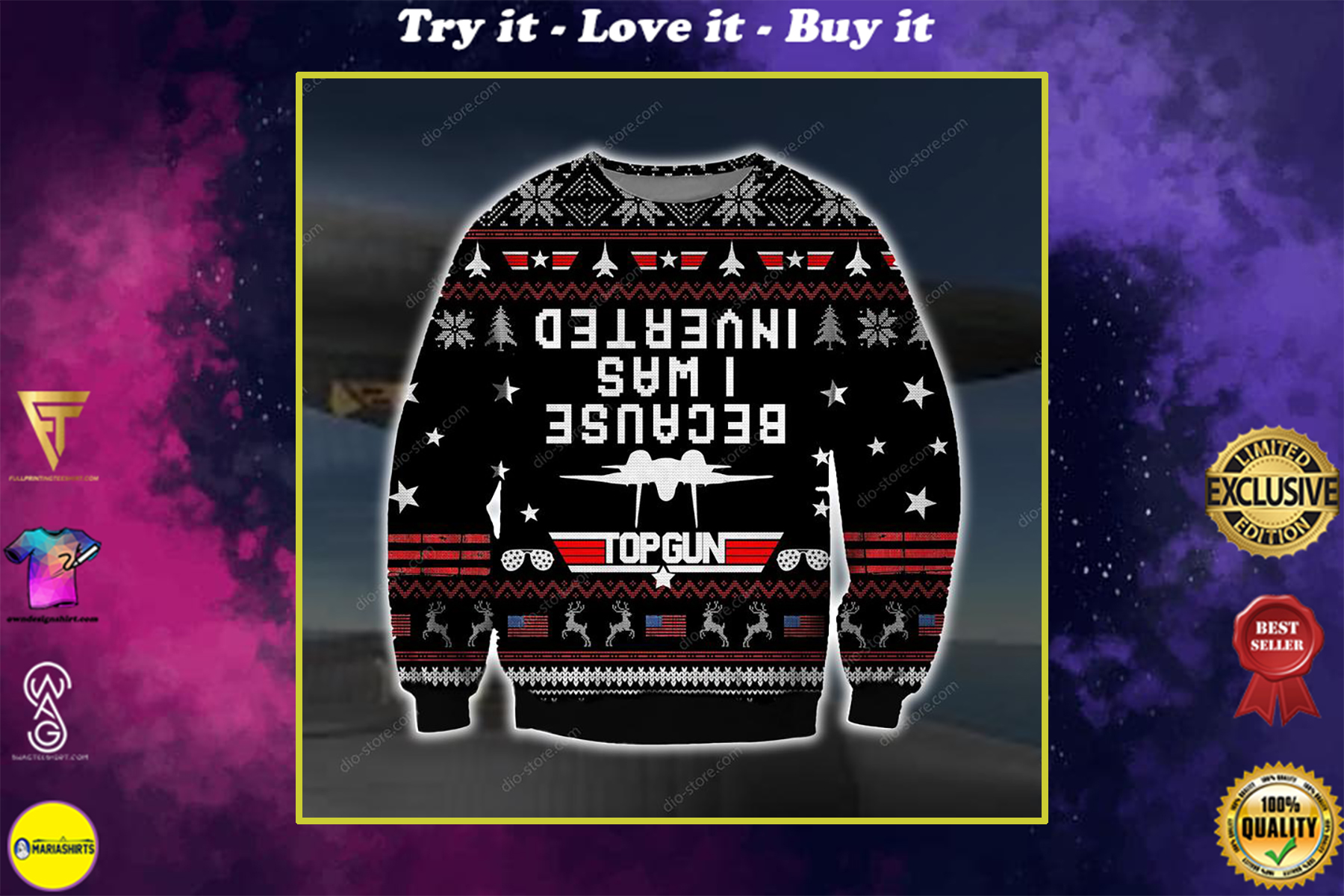 because i was inverted top gun all over printed ugly christmas sweater