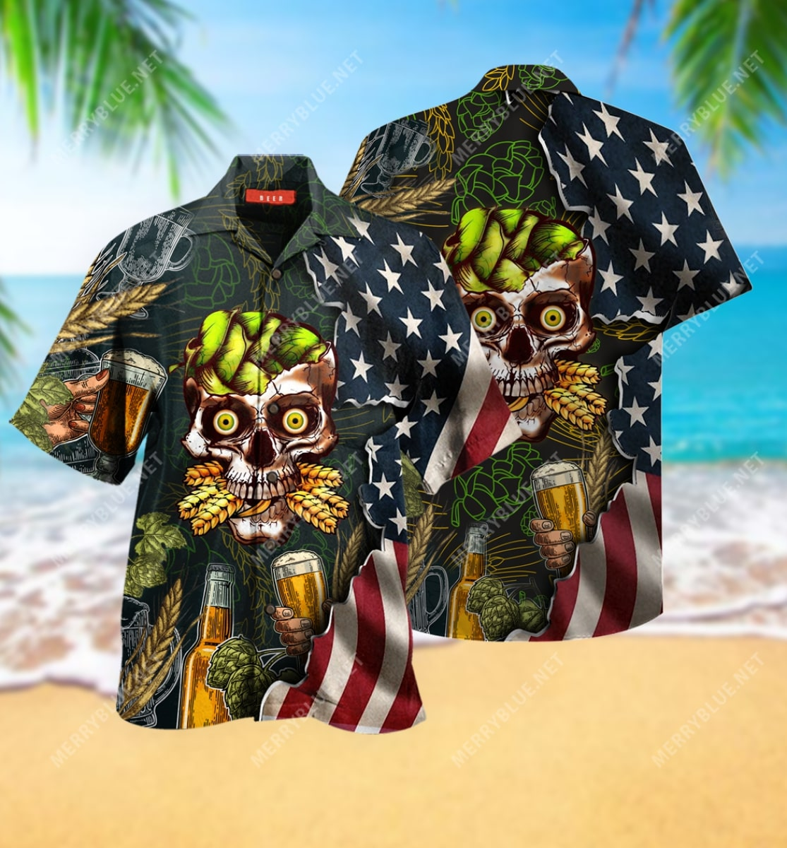 beer skull party all over printed hawaiian shirt 2