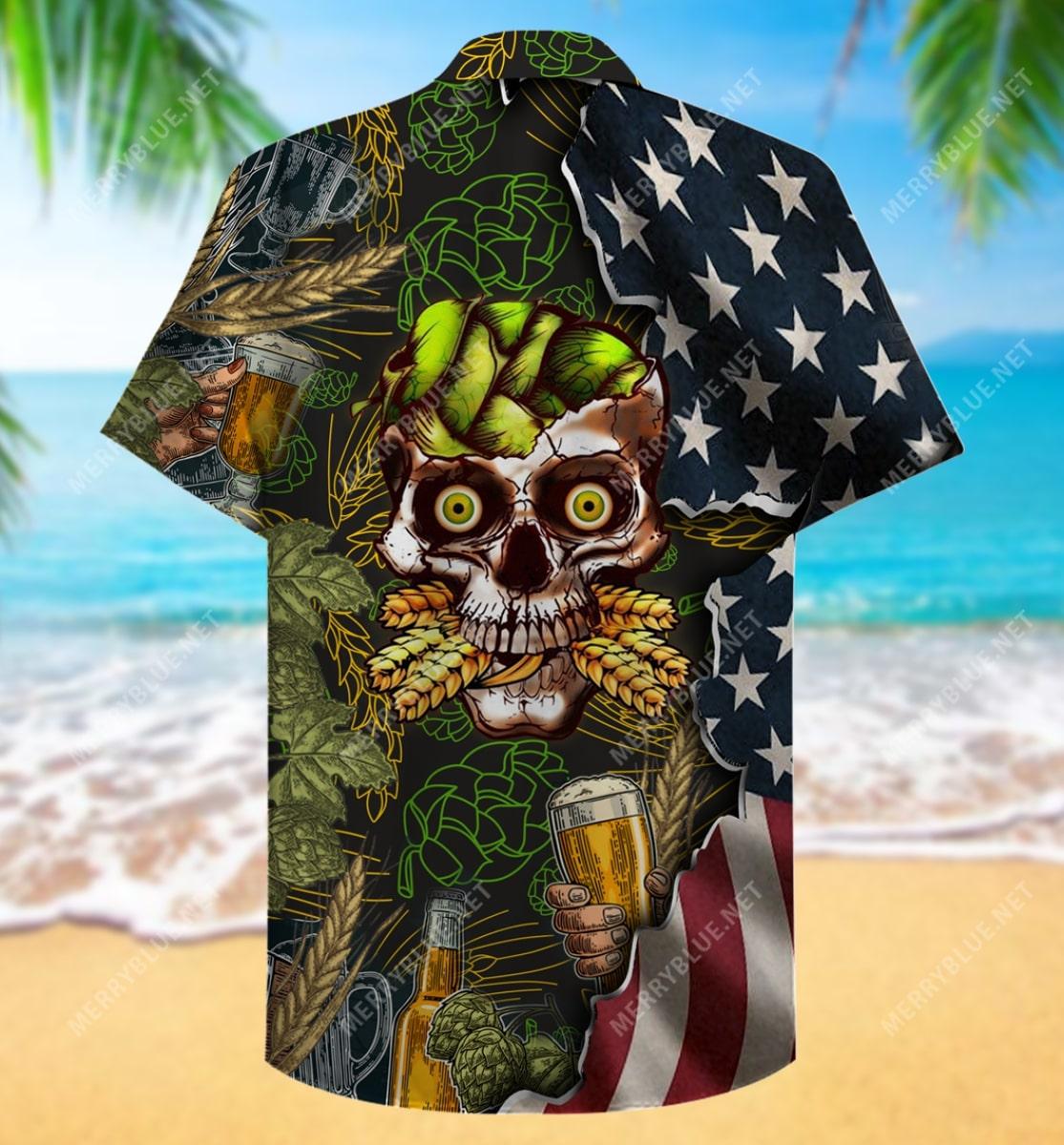 beer skull party all over printed hawaiian shirt 4