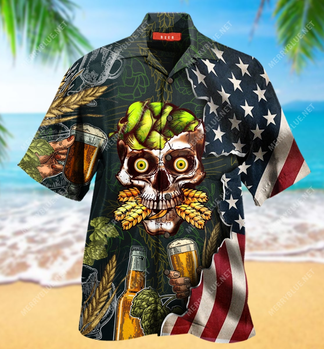 beer skull party all over printed hawaiian shirt 5