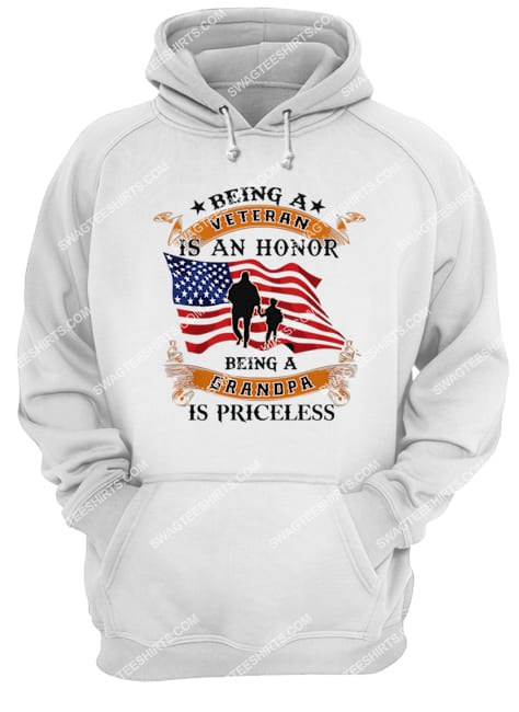 being a veteran is an honor being a grandpa is priceless for memorial day hoodie 1