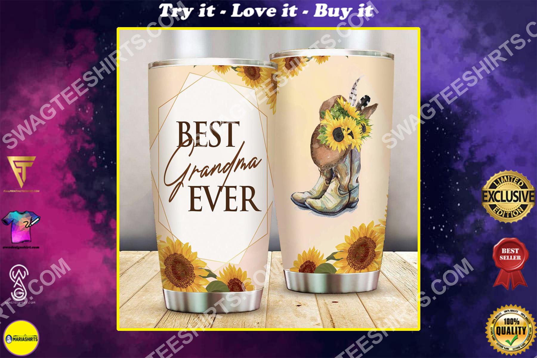 best grandma ever sunflower all over printed stainless steel tumbler