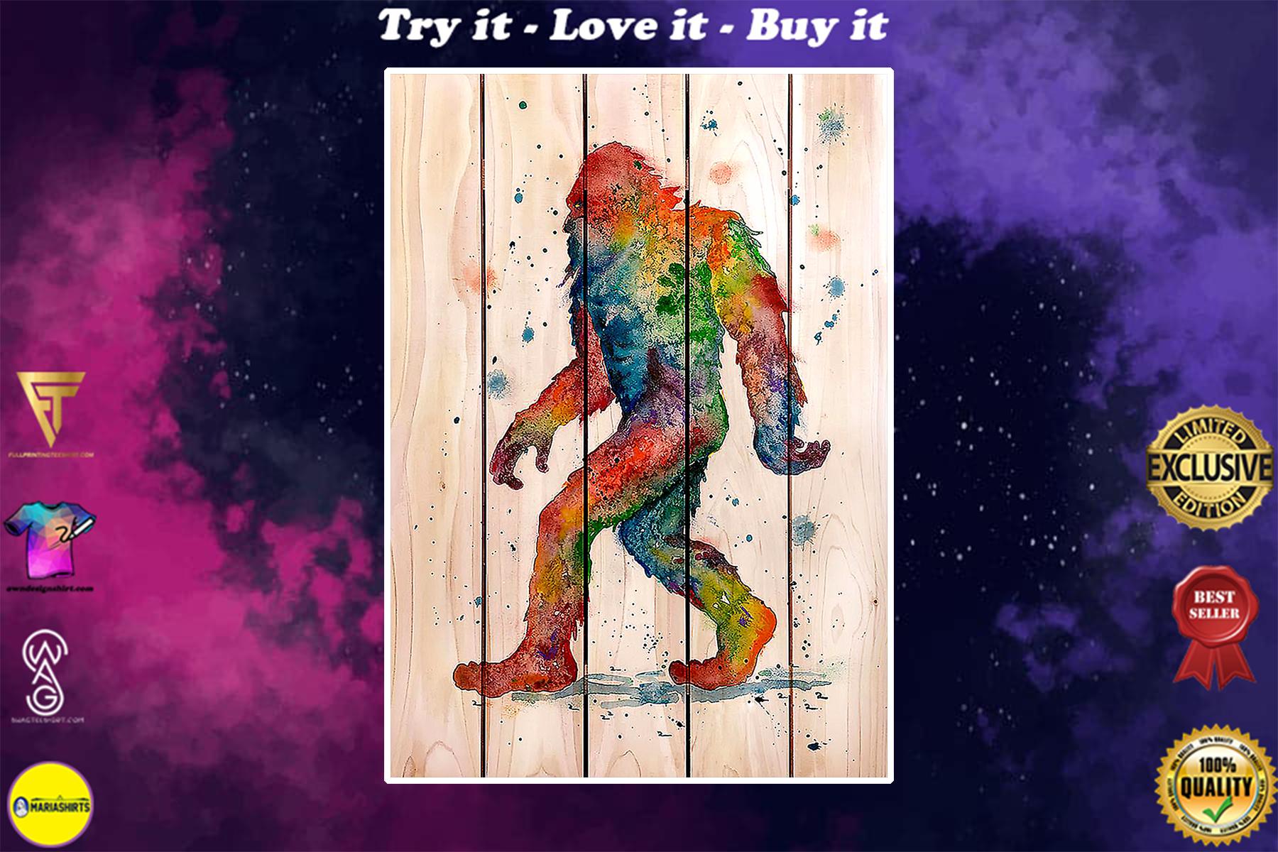 bigfoot watercolor wooden poster