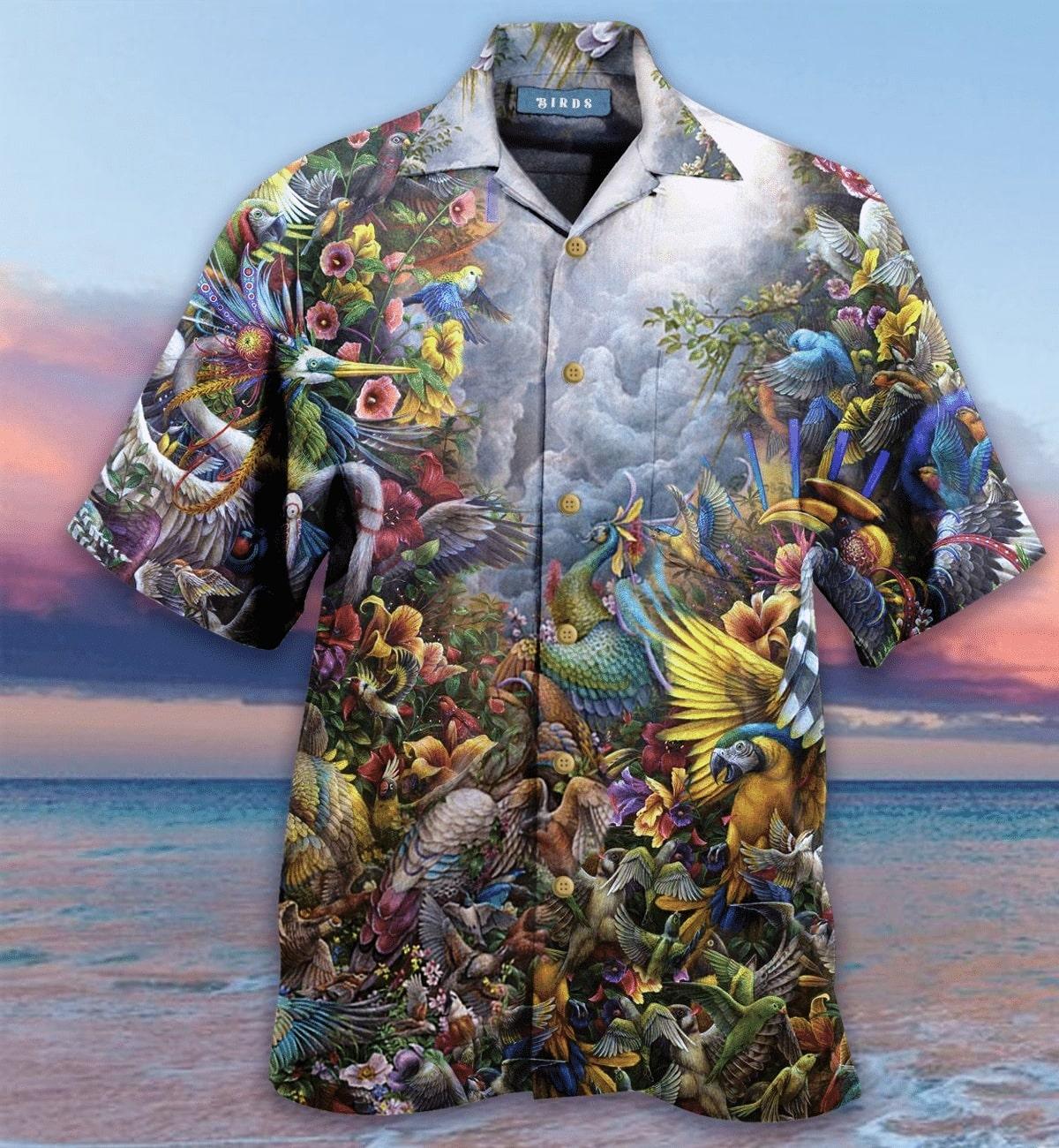 birds in the heaven all over printed hawaiian shirt 2