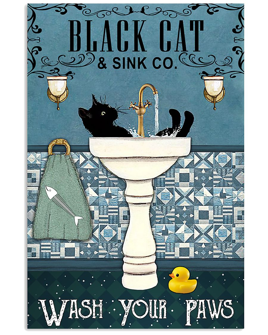 black cat and sink co wash your paws retro poster 1
