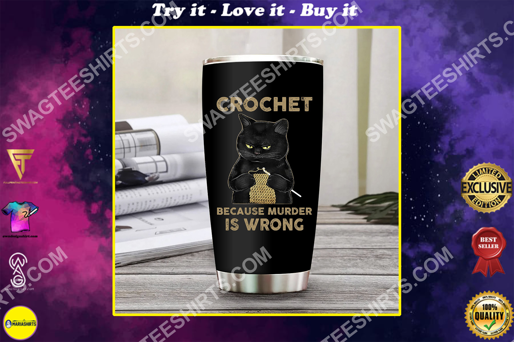 black cat crochet because murder is wrong all over printed stainless steel tumbler