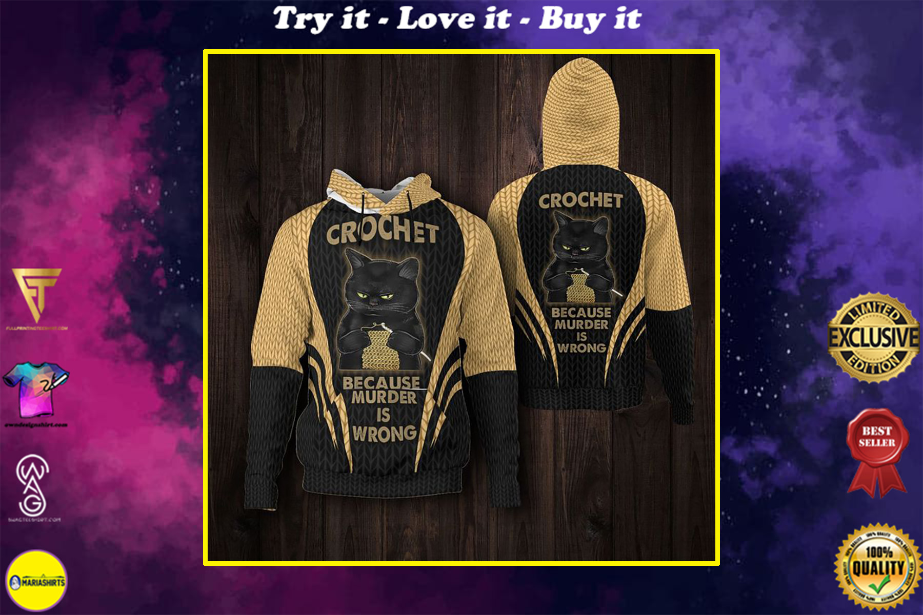 black cat crochet because murder is wrong full printing shirt